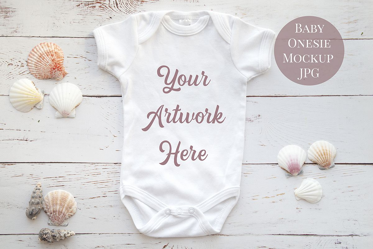 Onsie, Infant bodysuit Mockup, neutral shells example image 1