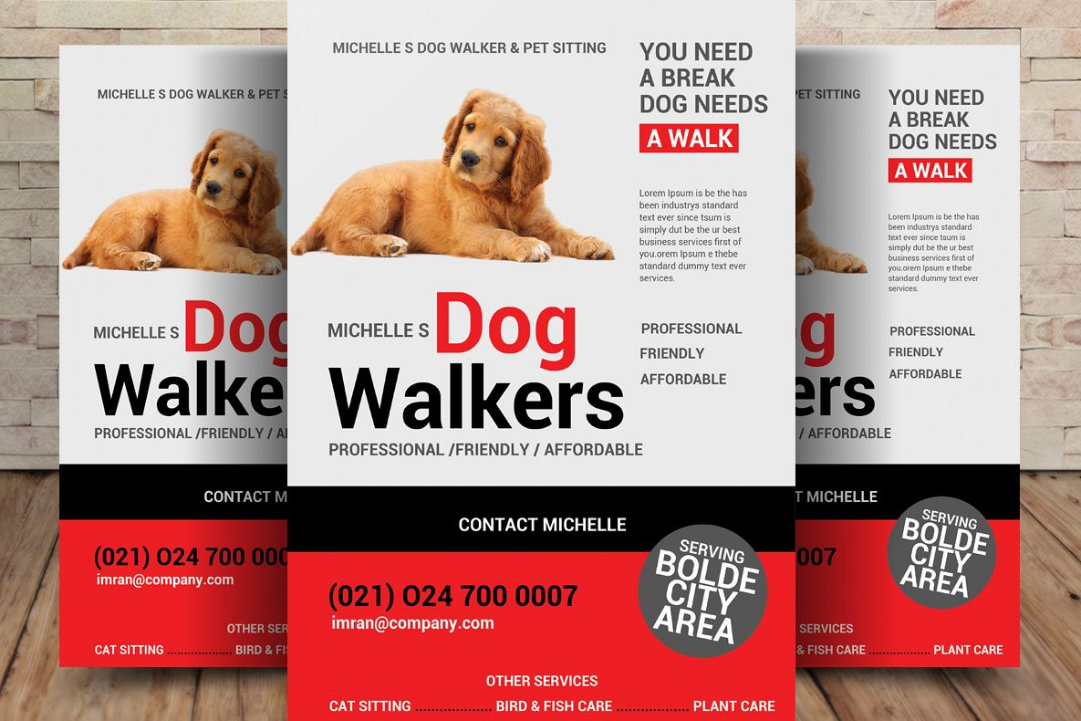 Dog walker flyer template by sanaimran design bundles dog walker flyer template example image maxwellsz