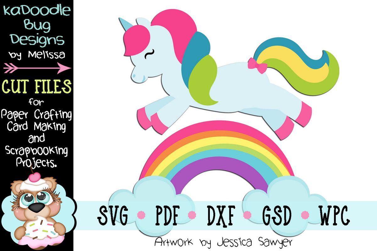 Rainbow Unicorn Cut File - SVG PDF DXF GSD WPC example image 1