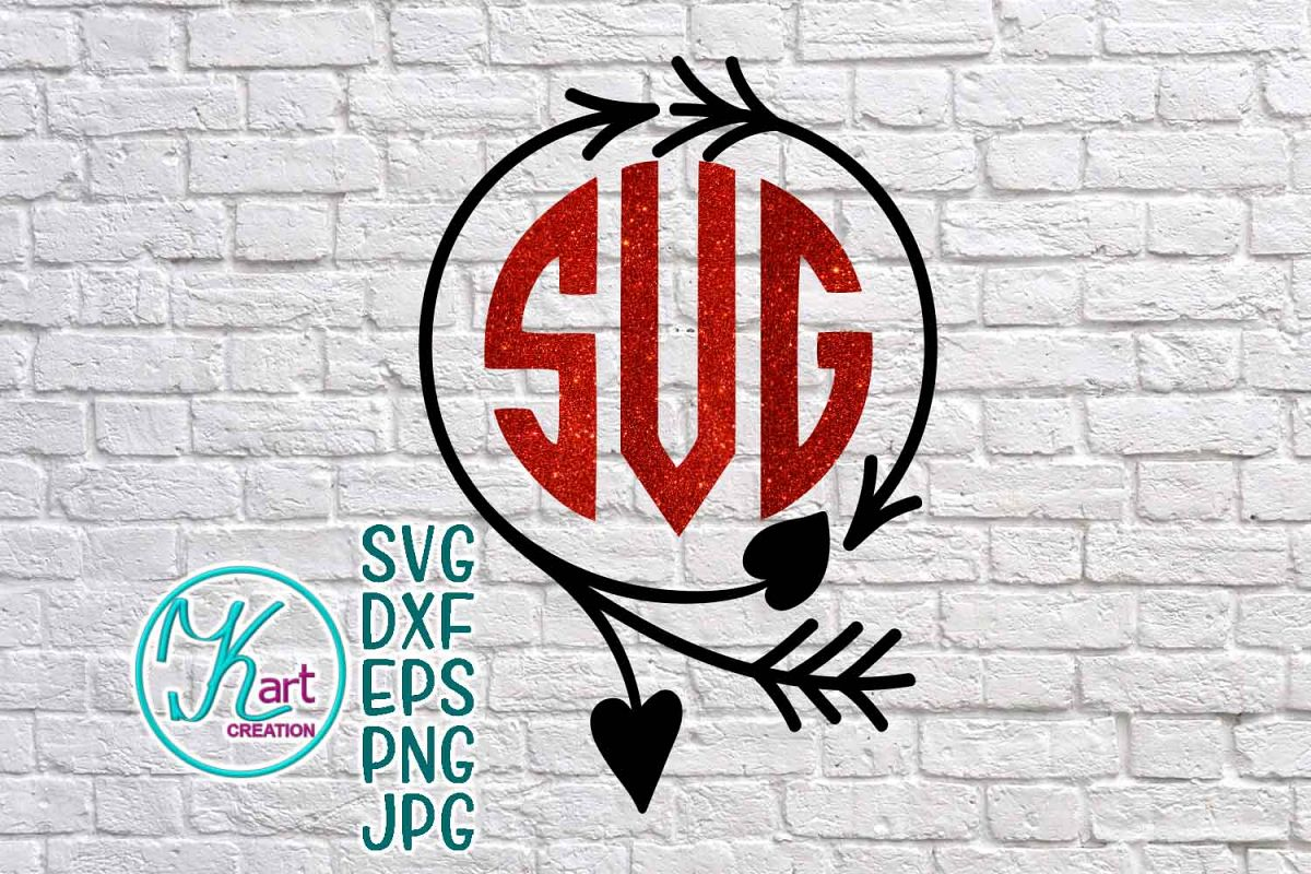 Valentines Day Wreath Circle Monogram Svg Dxf Cutting File