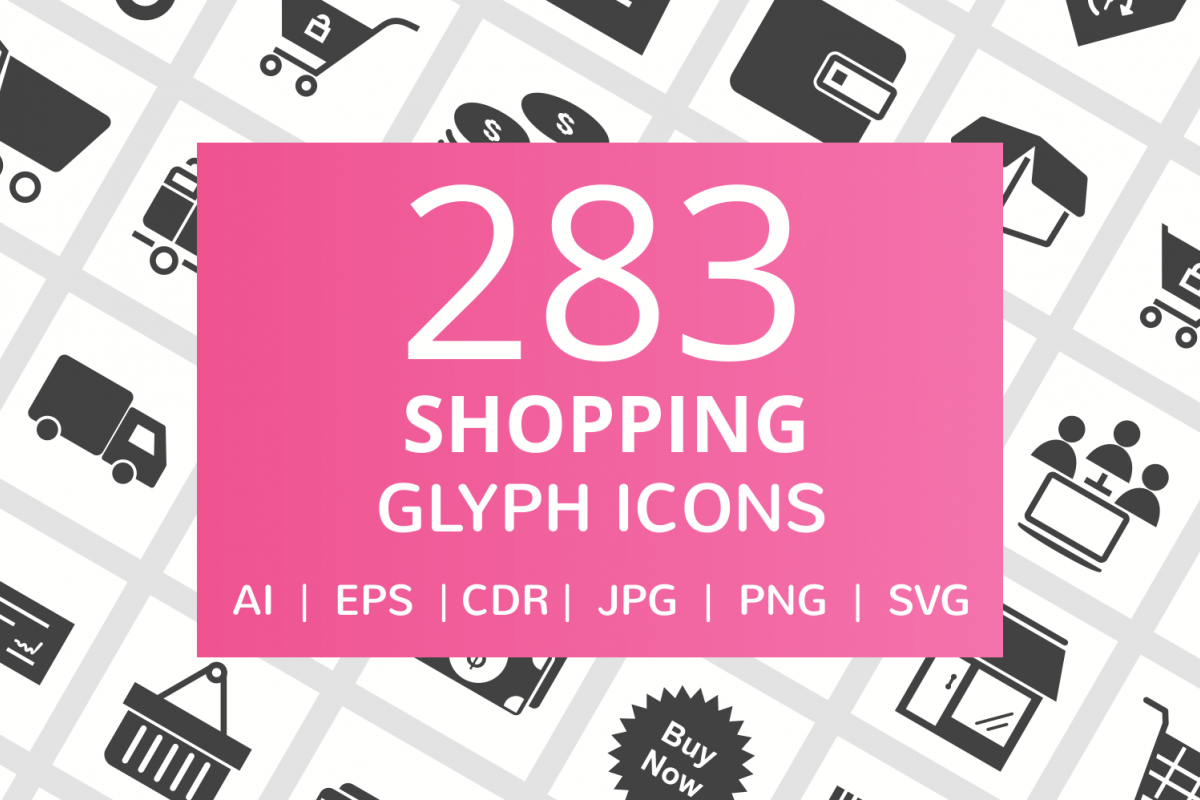 283 Shopping Glyph Icons example image 1