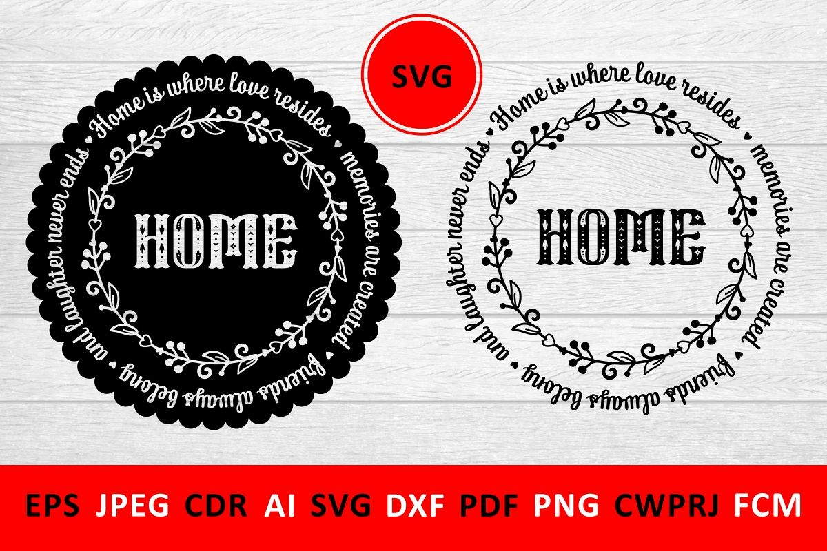 Love Family SVG Quote cut file. Round frame example image 1