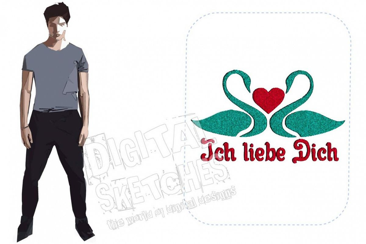Ich Liebe Dich Swan Machine Embroidery Design 3 Sizes example image 1
