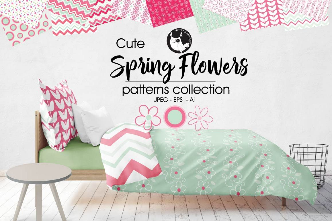 SPRING-FLOWERS, digital papers example image 1