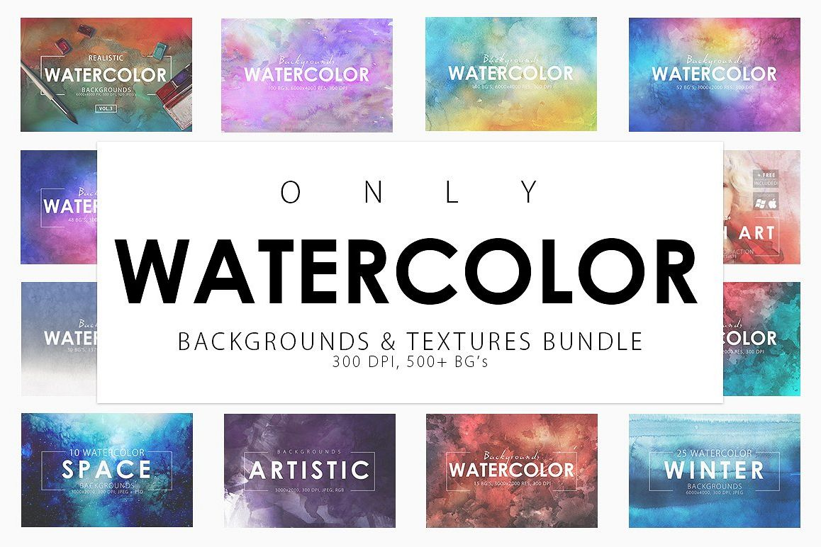 Only Watercolor Backgrounds Bundle example image 1