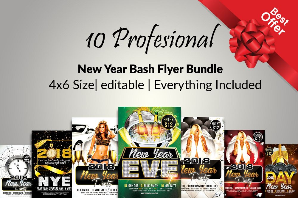 10 New Year Party Flyers Bundle