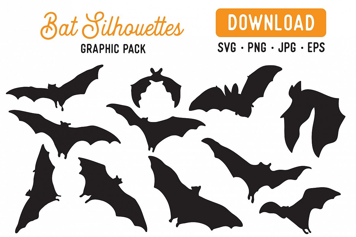 Bat Silhouettes Vector Clipart Pack example image 1