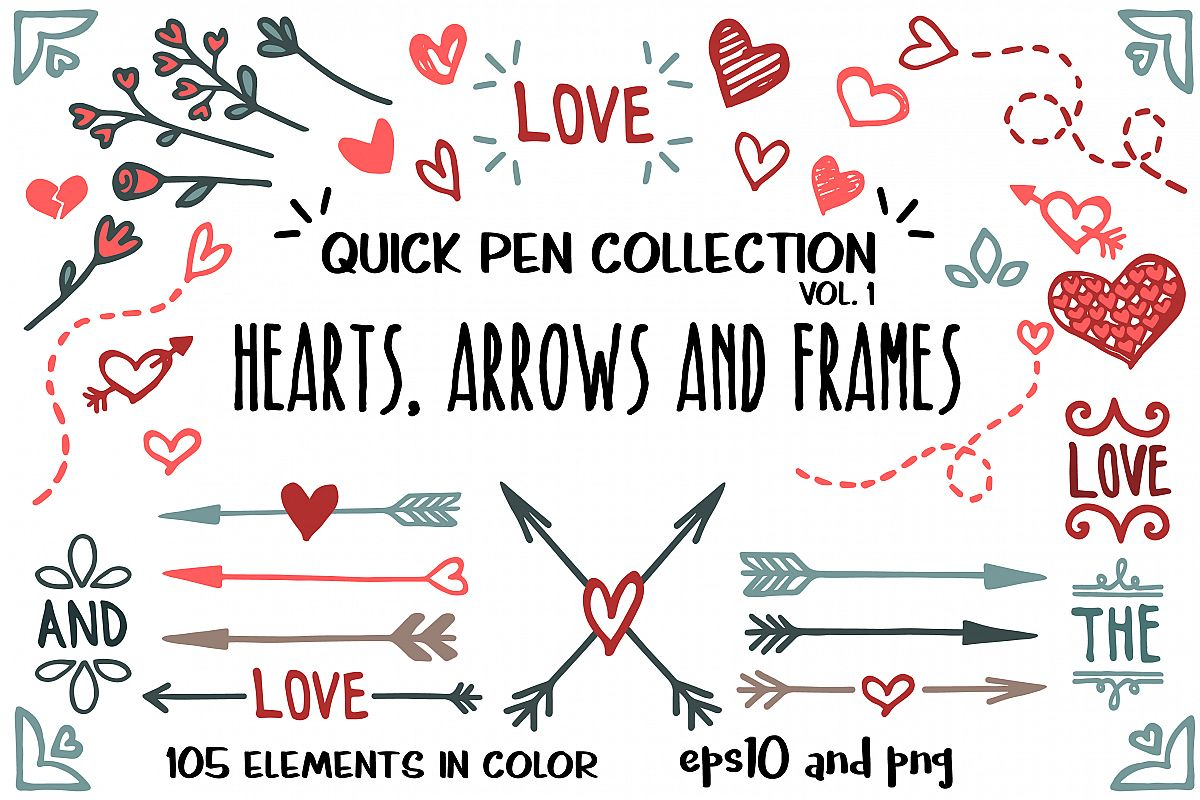 Hearts, arrows and frames example image 1