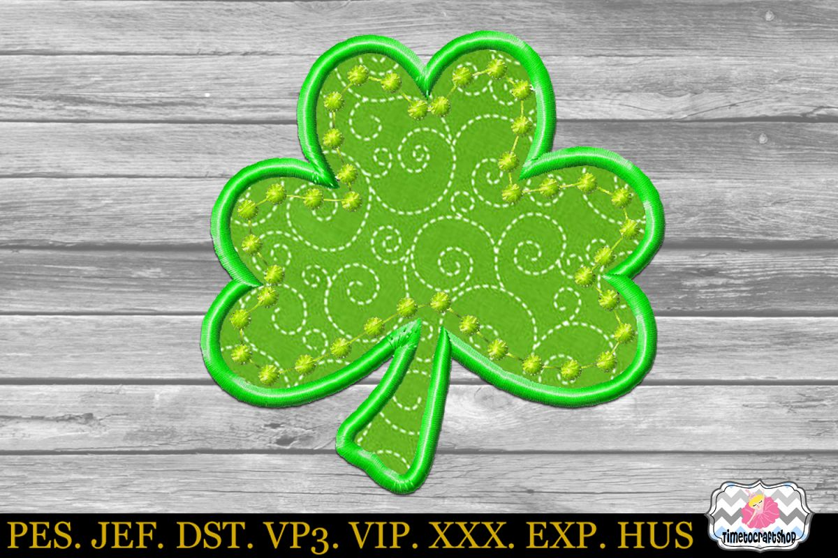 St Patricks Day Shamrock Clover Embroidery Applique Design example image 1