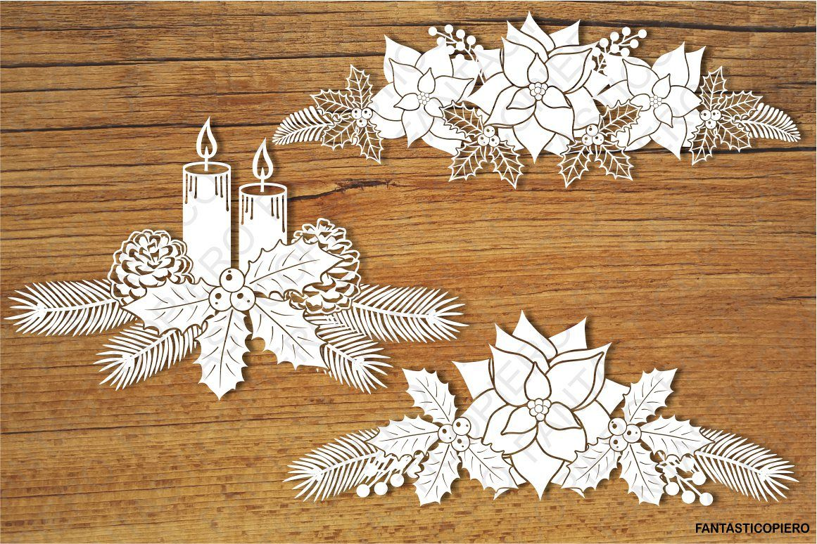 Christmas Decorative Elements 3 SVG files. example image 1