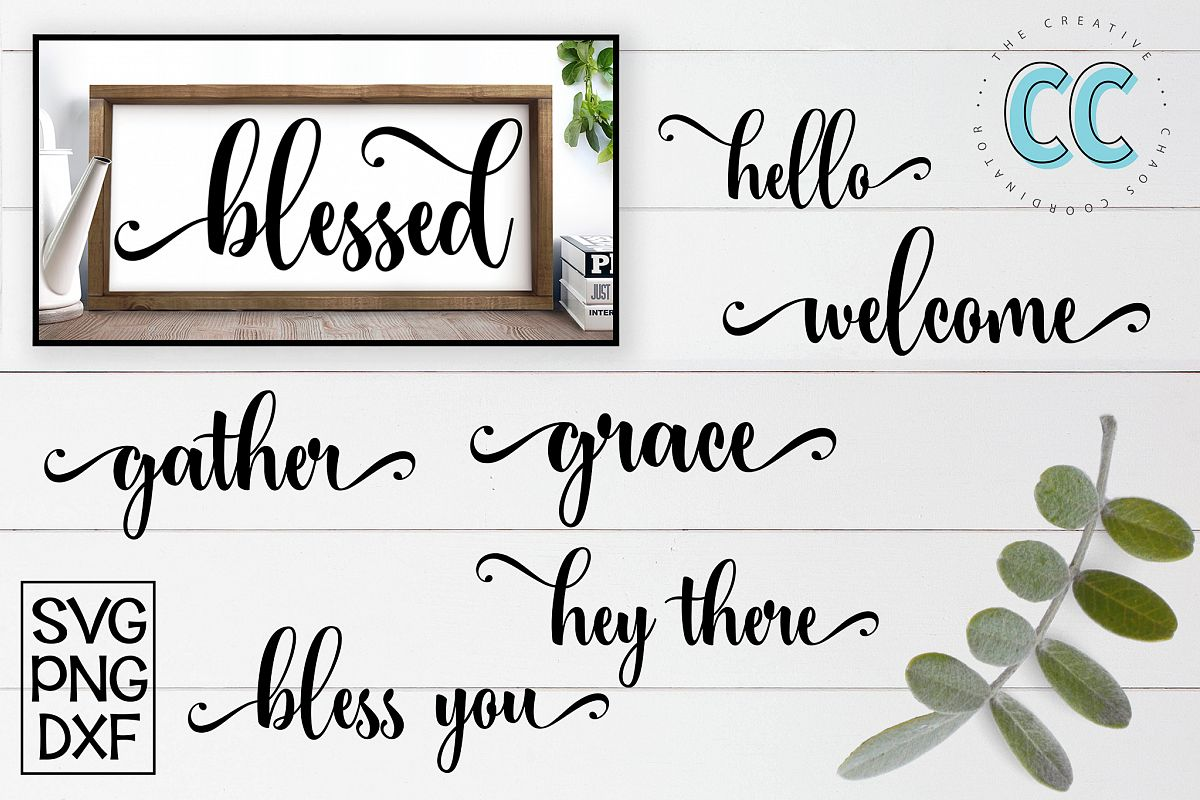Script Word Bundle for Canvas Signs example image 1