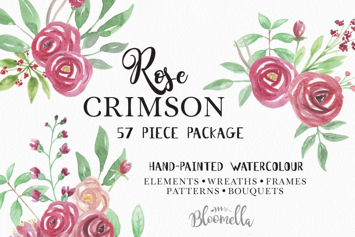 Rose Crimson Floral Watercolor Flower Wreath Frame Pattern Kit Example Image