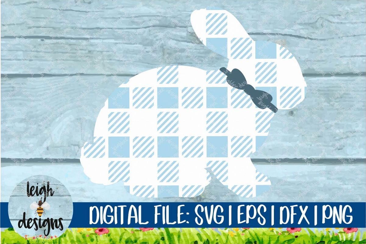 Buffalo Plaid Bunny with Bowtie SVG EPS DFX PNG Cut File example image 1