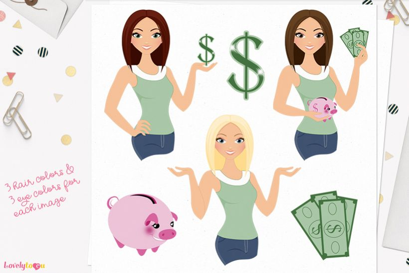 Woman money saver character clip art L121 Lisa example image 1
