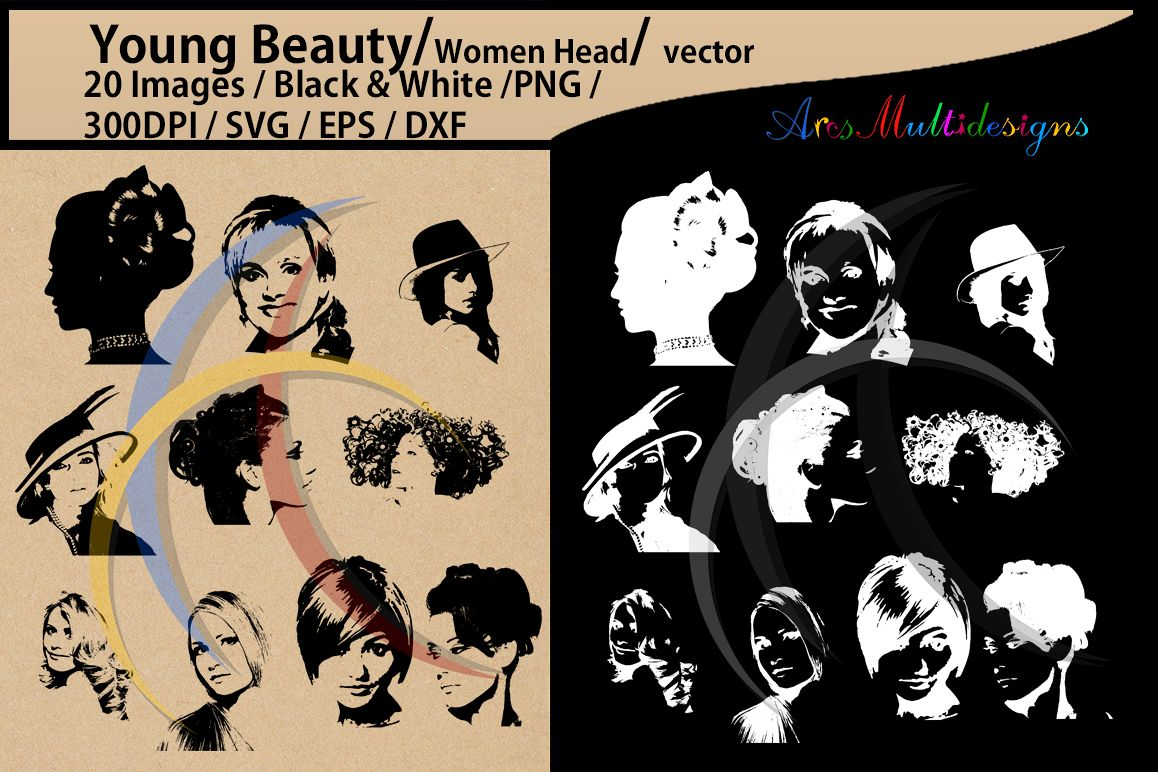 women silhouette / head /women head svg / Scrapbooking / Cardmaking / EPS / SVG / Png /dxf / Updated version example image 1