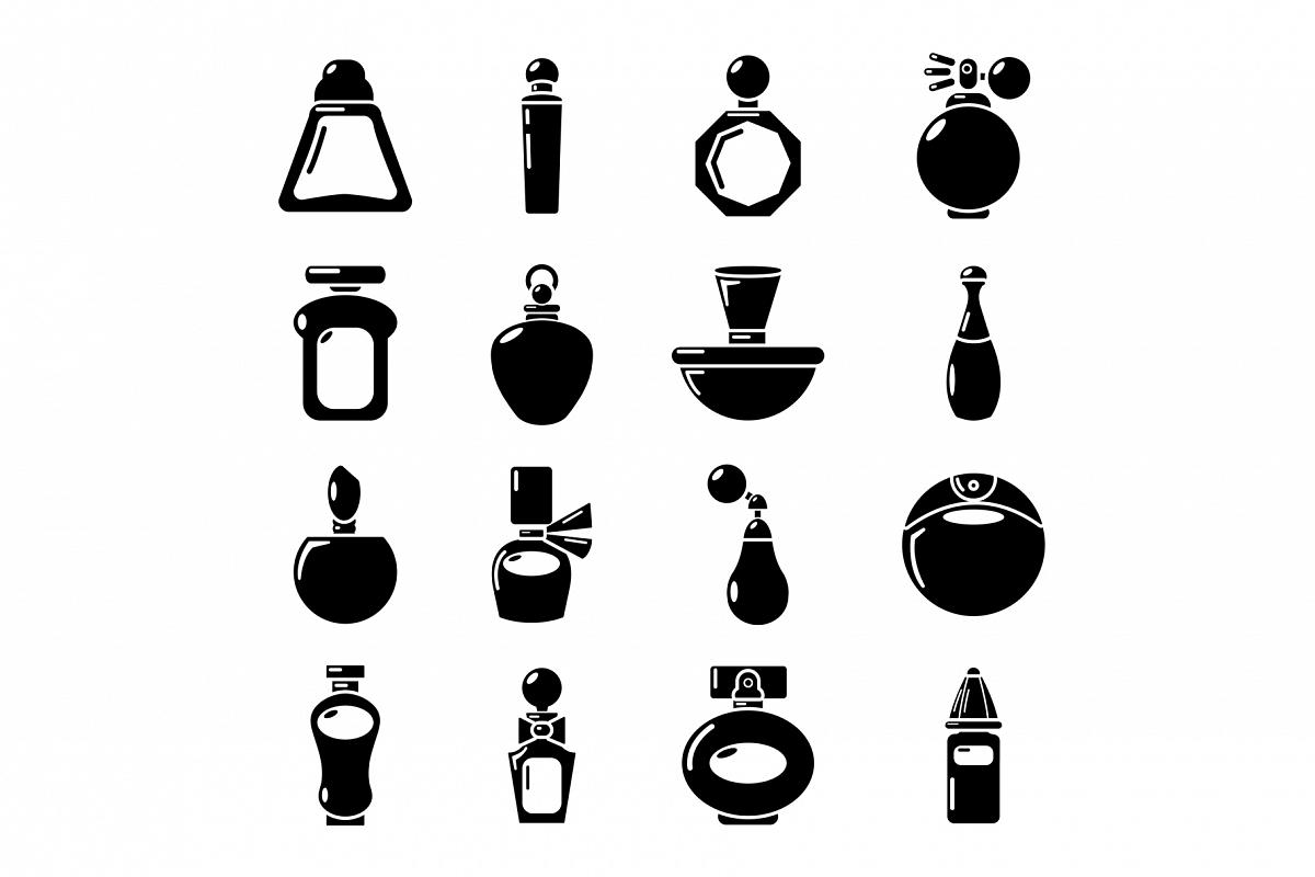 Perfume bottle icons set, simple style example image 1