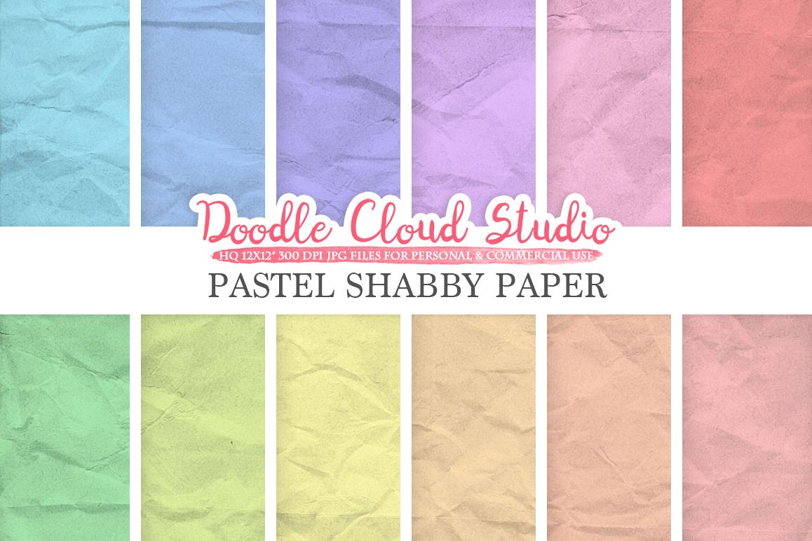 Pastel Shabby digital paper pack, Soft colors, Old paper texture, Grungy paper, Folded paper Background, Instant Download for Commercial Use example image 1