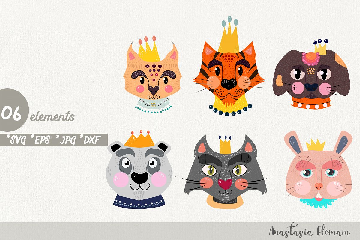 Royal animals clipart vector cartoon characters svg jpg dxf example image 1