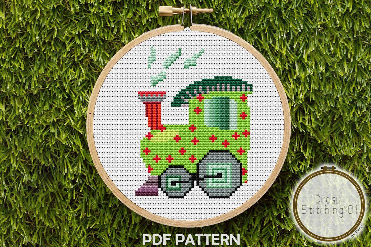 Train Engine Cross Stitch Pattern - Instant Downlod PDF example image 1