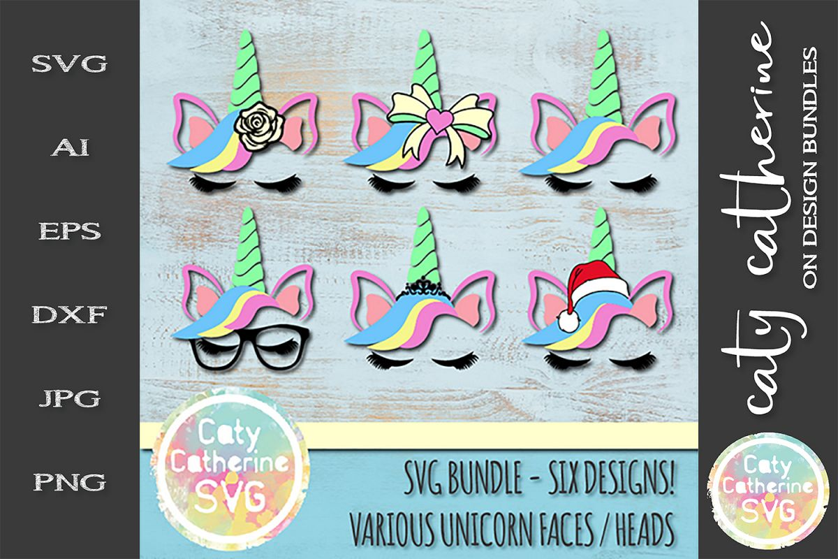 Various Unicorn Faces Heads Bundle Glasses Rose Tiara SVG example image 1