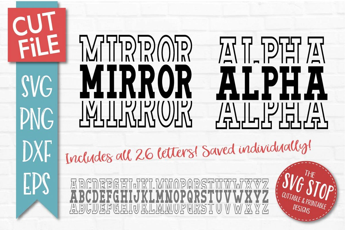 Mirror Alphabet - SVG, PNG, DXF, EPS example image 1