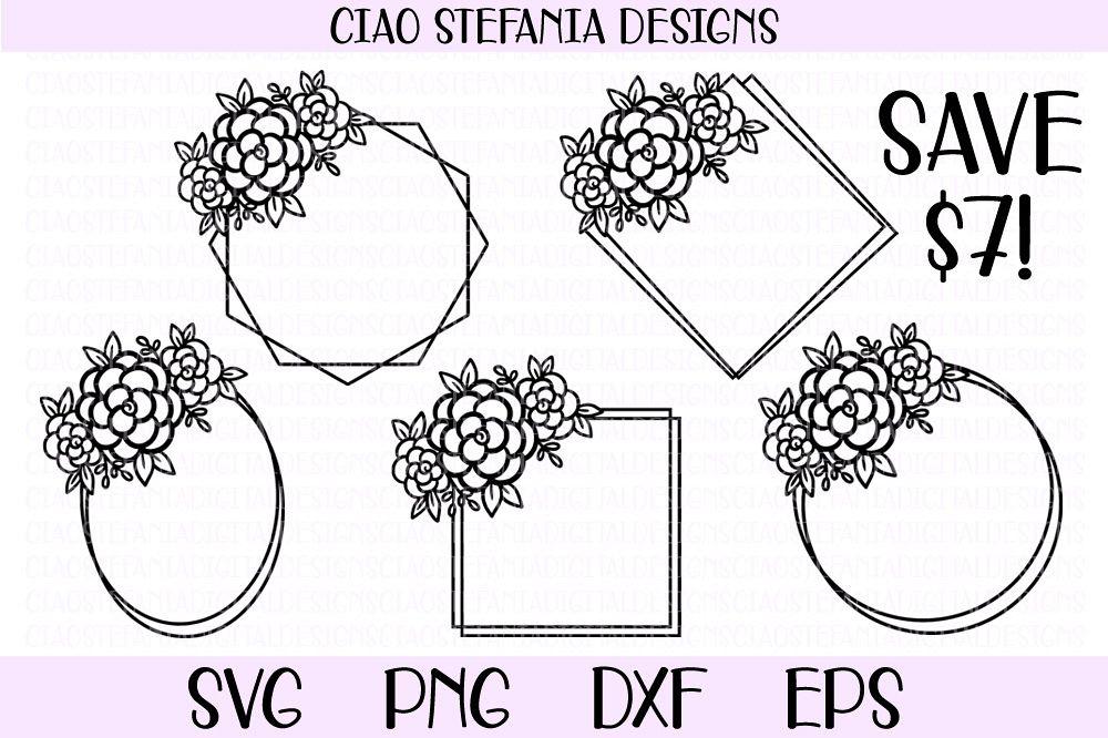 Flower Geometric Frames Bundle Wedding SVG PNG DXF EPS Cut example image 1