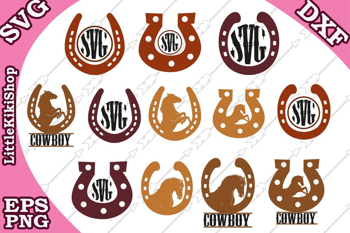 Horseshoe Monogram Svg,Western Horse Svg,Cut Files for Cri example image 1