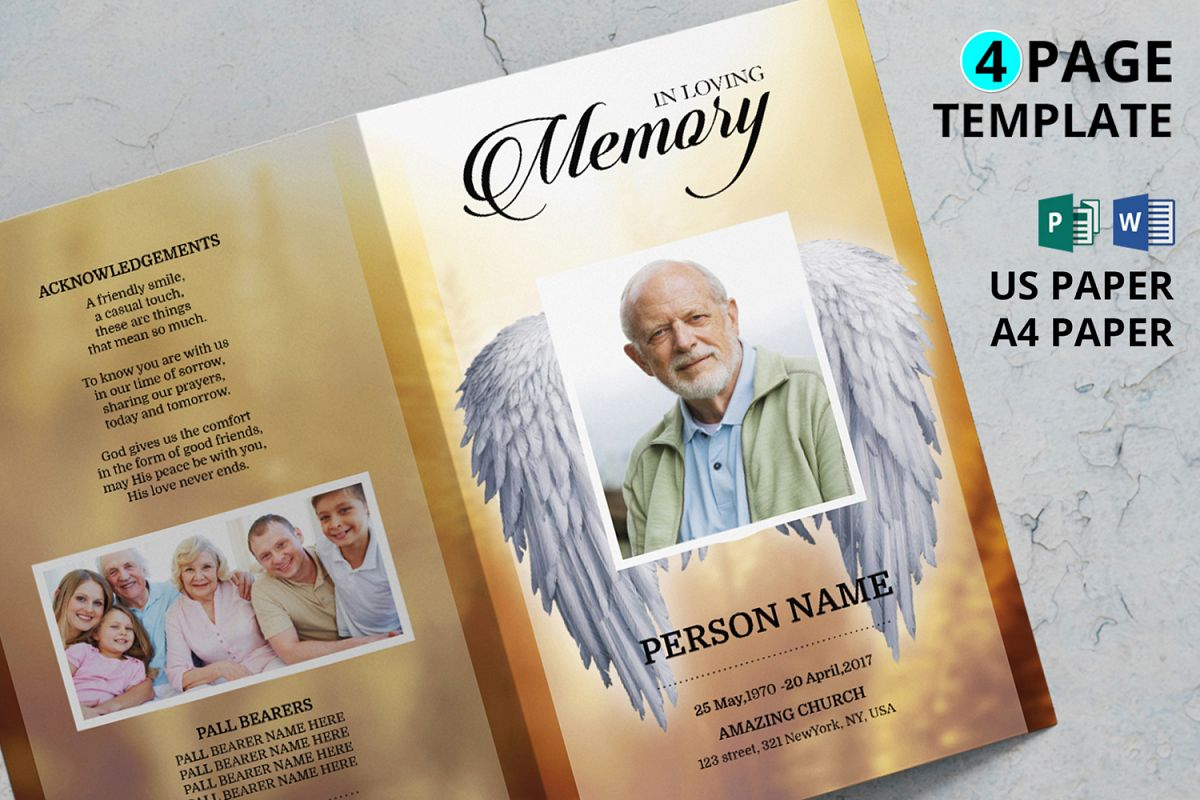 Angel Wing funeral program template example image 1