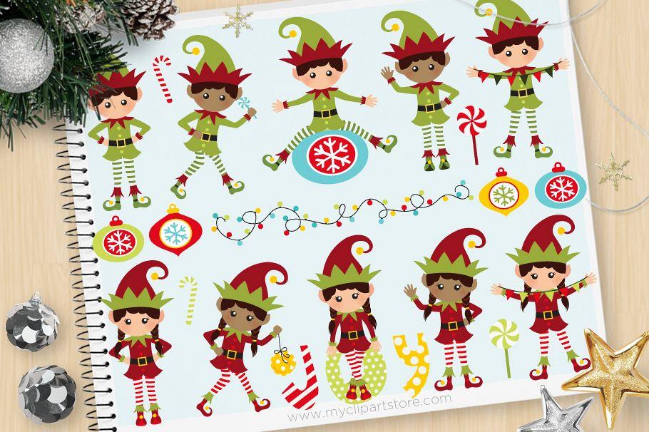 Santa's Elves. Christmas Clipart - Vector Clip Art & SVG example image 1