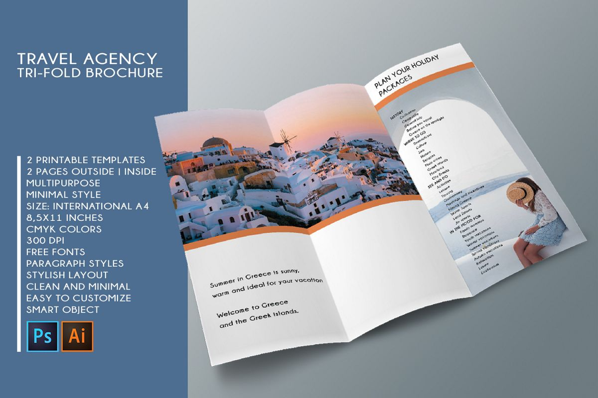 Trifold Travel Agency Brochure Templates A4