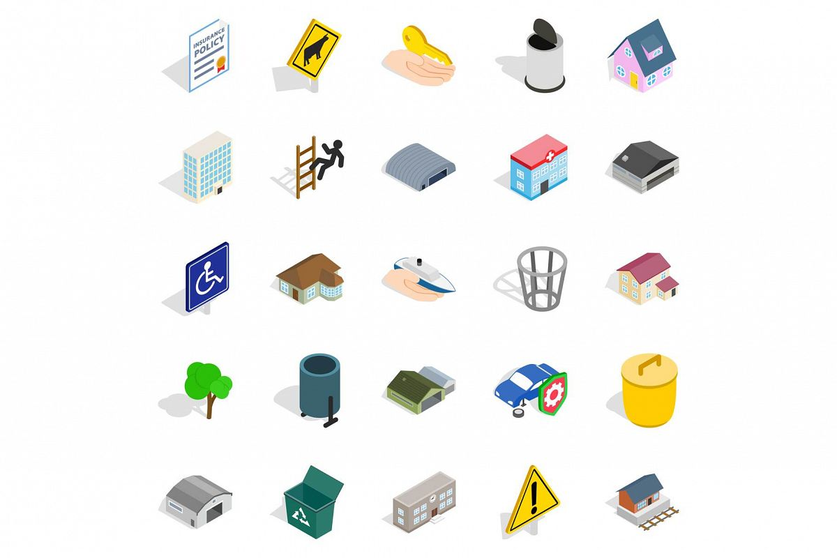 City buildings icons set, isometric style example image 1