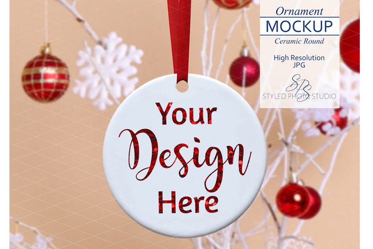 Round Ceramic Christmas Ornament Mockup Farmhouse Retro example image 1