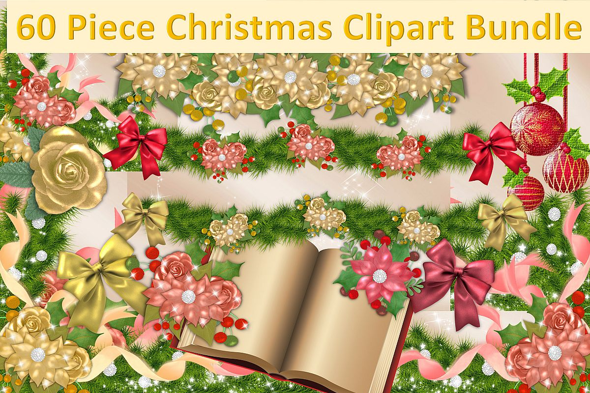 Christmas Clipart Bundle Commercial Use 60 pieces example image 1