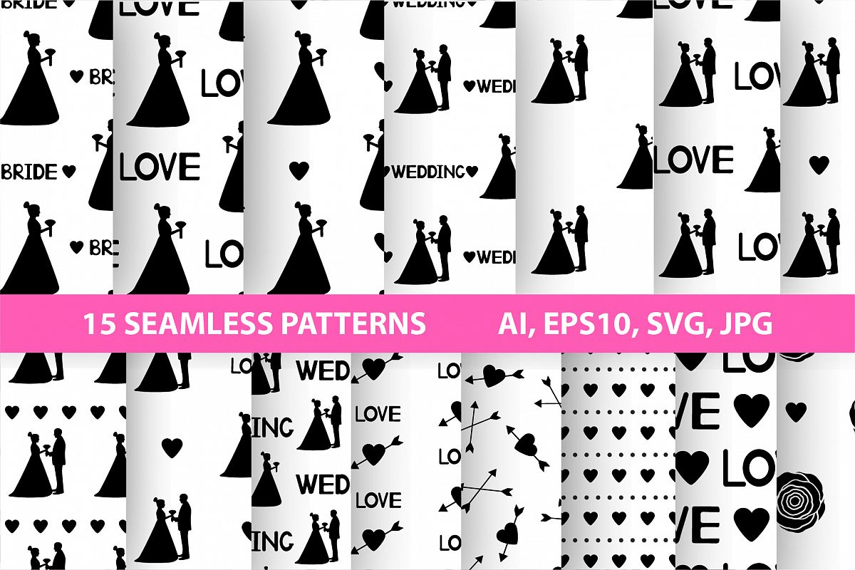 Black and white wedding digital paper. SVG, Ai, EPS 10, JPEG example image 1
