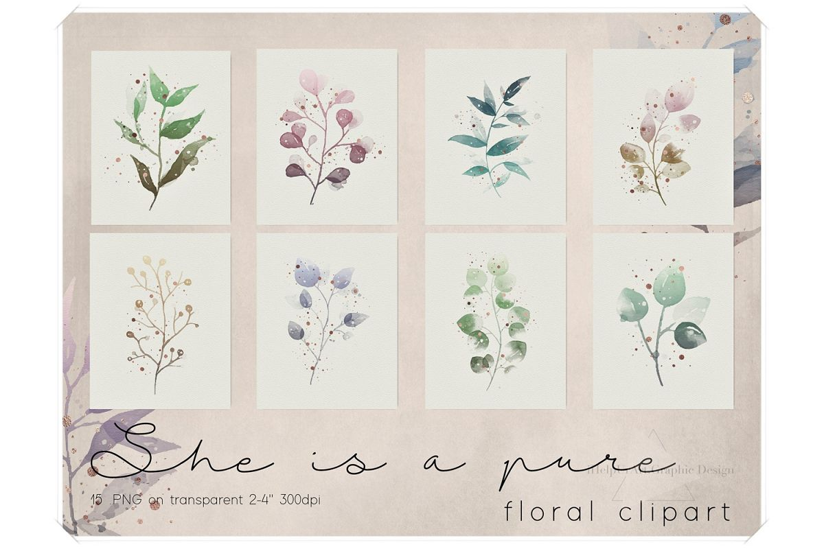 Watercolor and Rose Gold Floral Clipart example image 1
