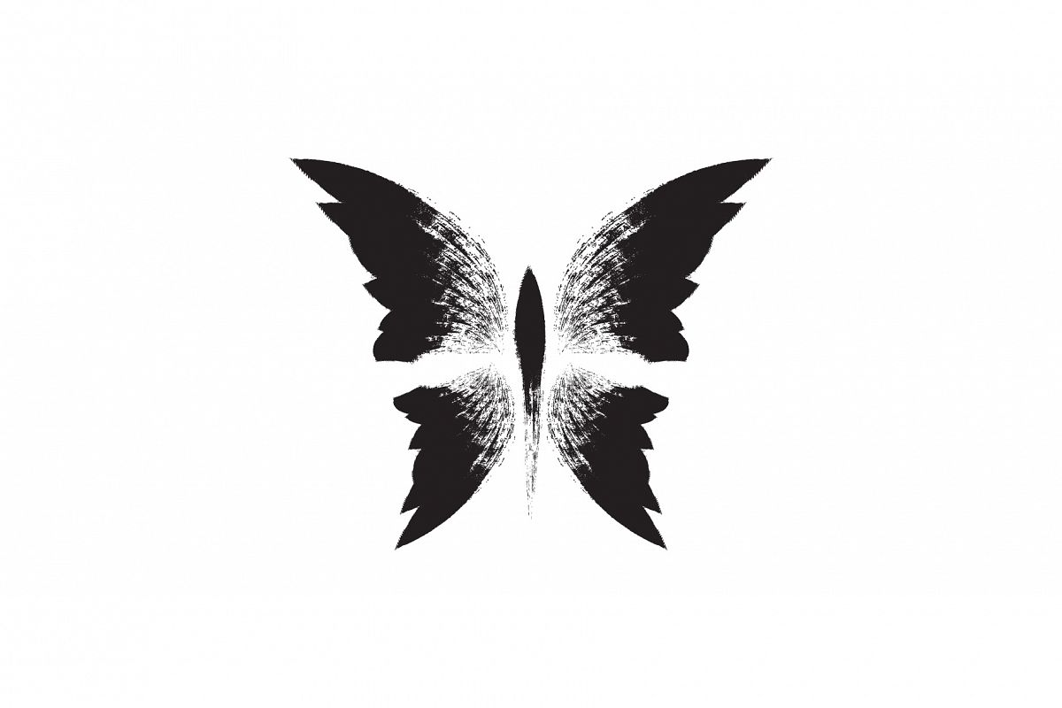 Butterfly. Black hand drawn butterfly. Tattoo illustration. example image 1