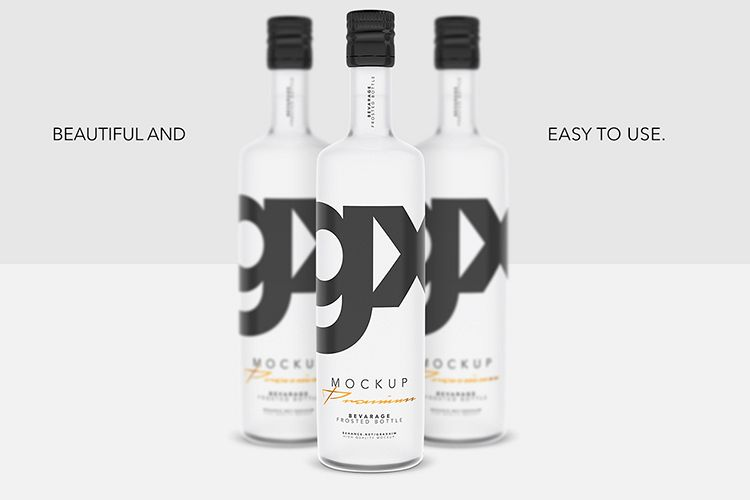 Beverage - Frosted Bottle - Mockup example image 1