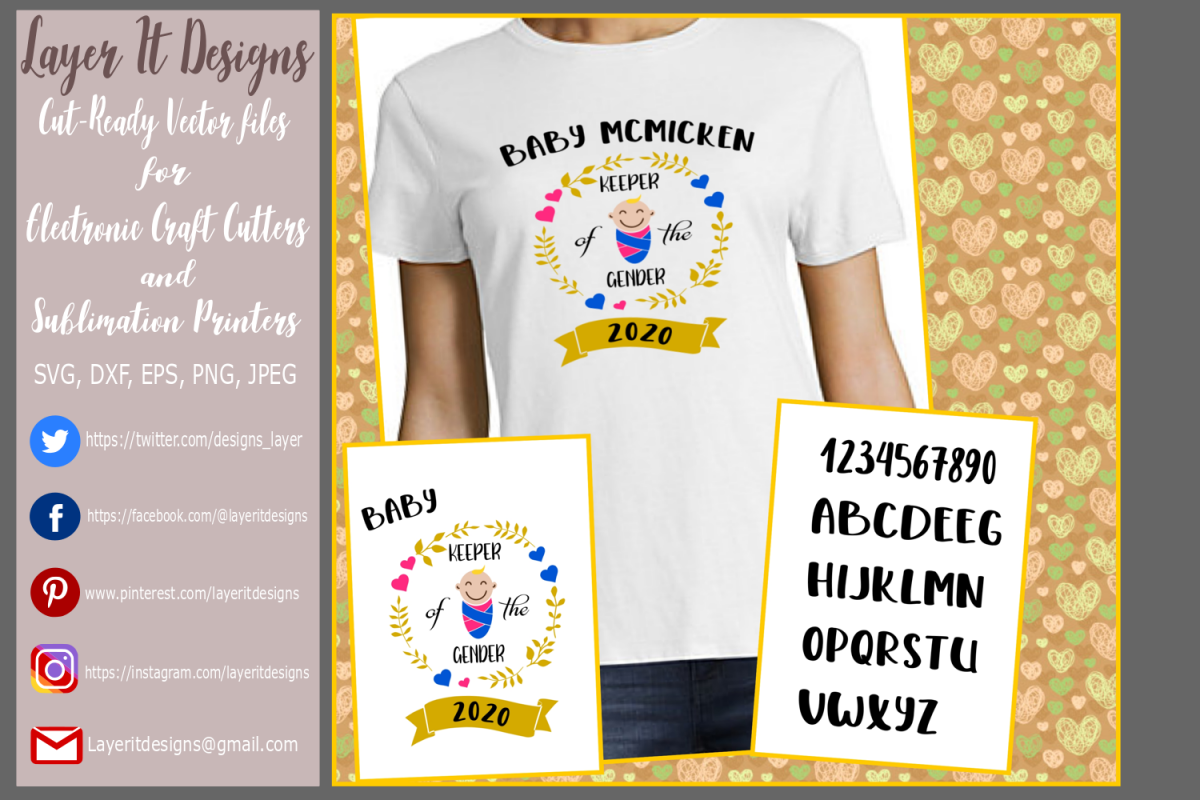 Keeper of the Gender / Gender Reveal T Shirt Design files example image 1