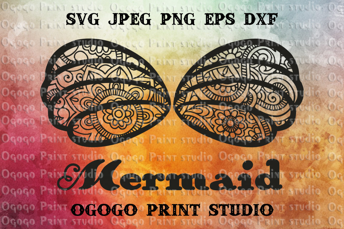 Mermaid Shell SVG, Mandala svg, Zentangle SVG, Mermaid Svg, example image 1