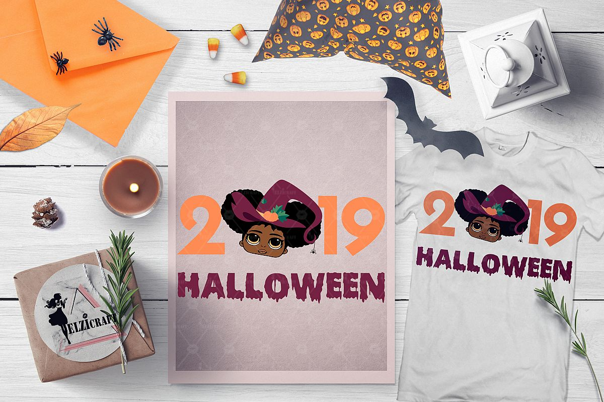 Halloween 2019 Cute Afro Girl Witch Salem SVG Cut File example image 1