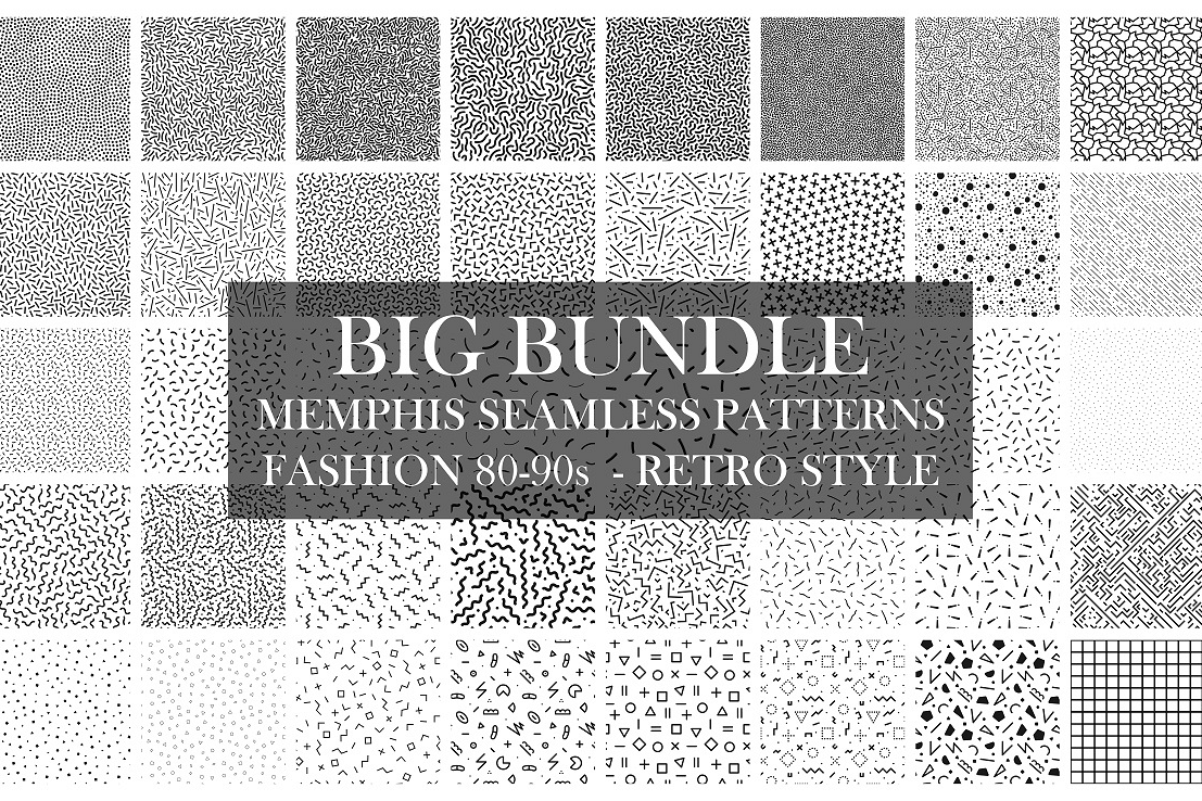 Bundle of Memphis seamless patterns example image 1