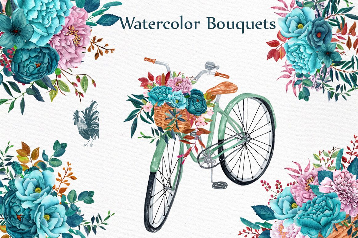 Watercolor floral bicycle clipart example image 1