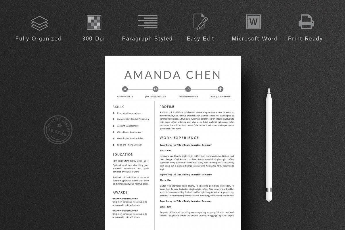 Clean 4 Pages Resume Template