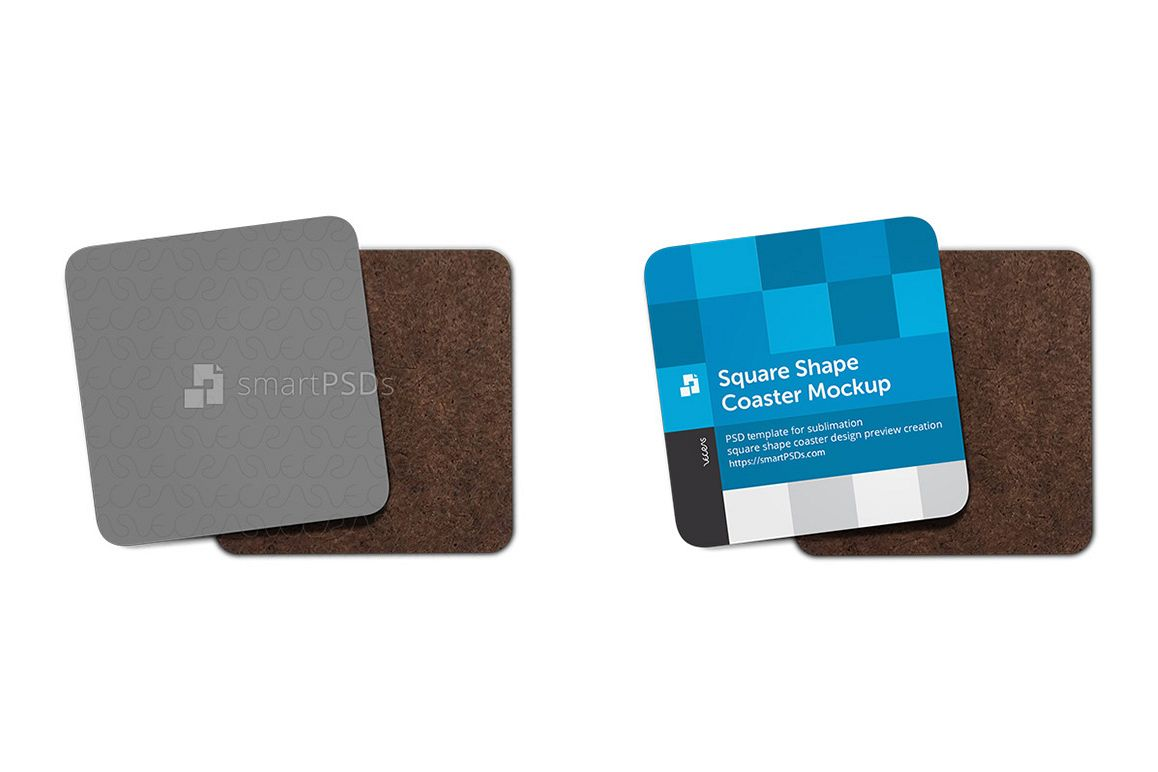 Square Shape Coasters Mockup for Sublimation Preview Design example image 1