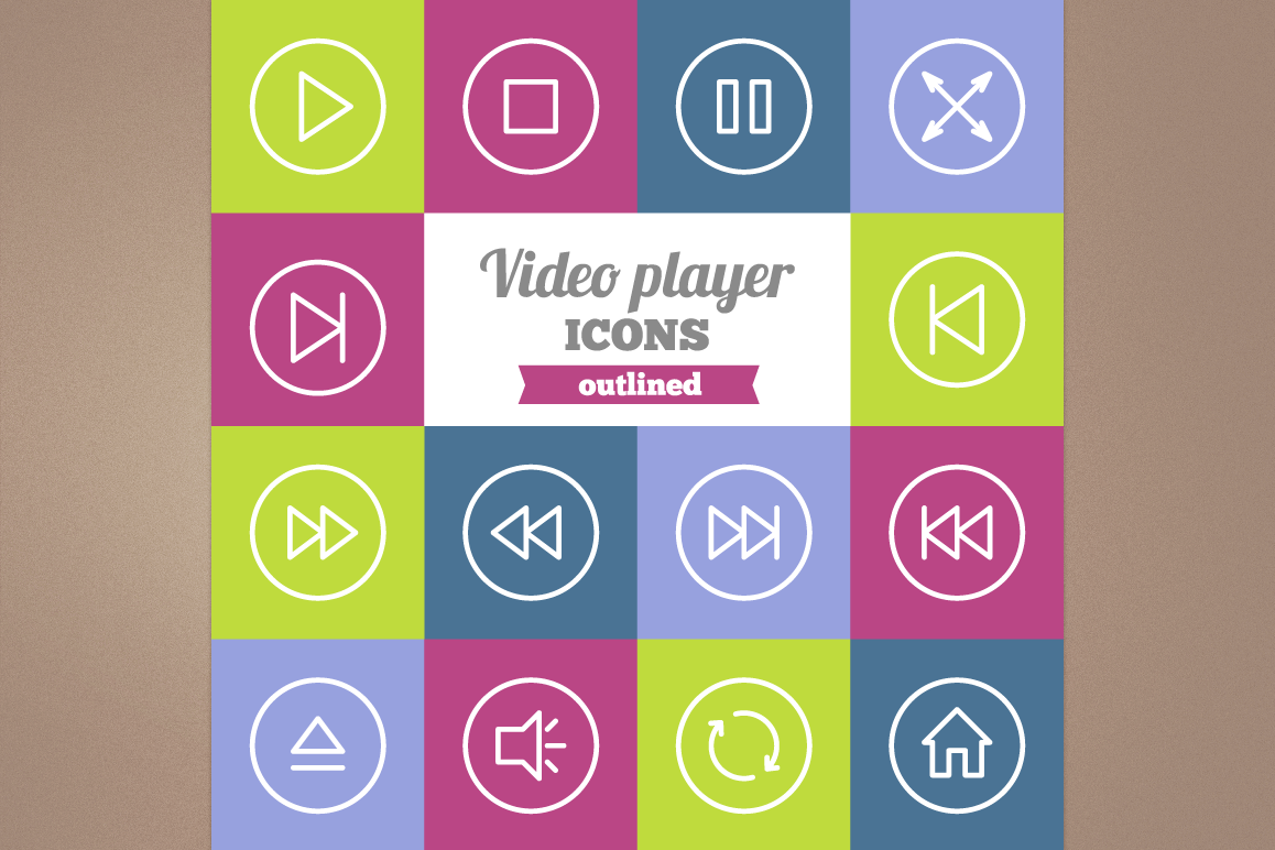 Outlined Video Player Icons example image 1