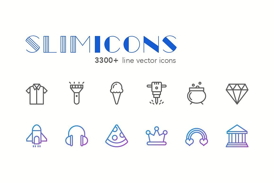 Slimicons - 3300 Line Vector Icons example image 1
