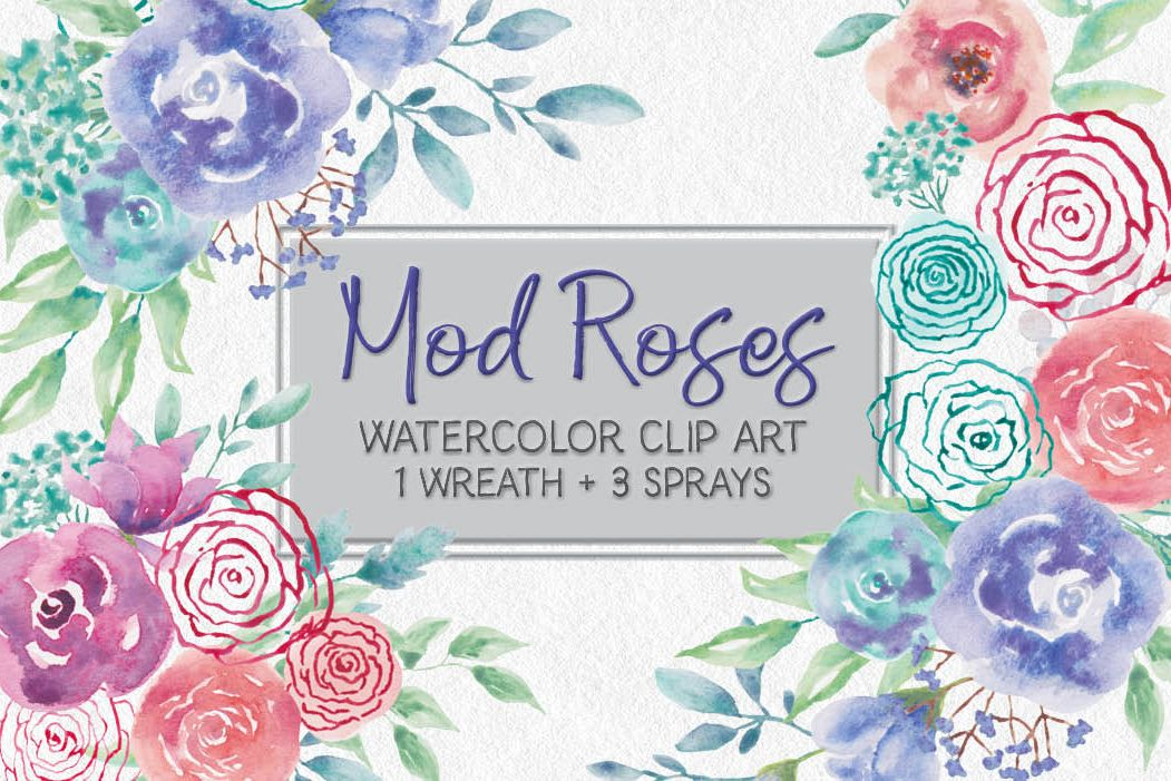 Watercolor wreath of 'mod' roses example image 1