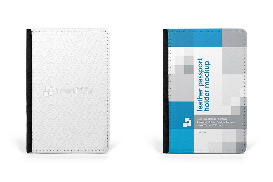 Leather Passport Holder Design Mockup - 4 Views example image 1