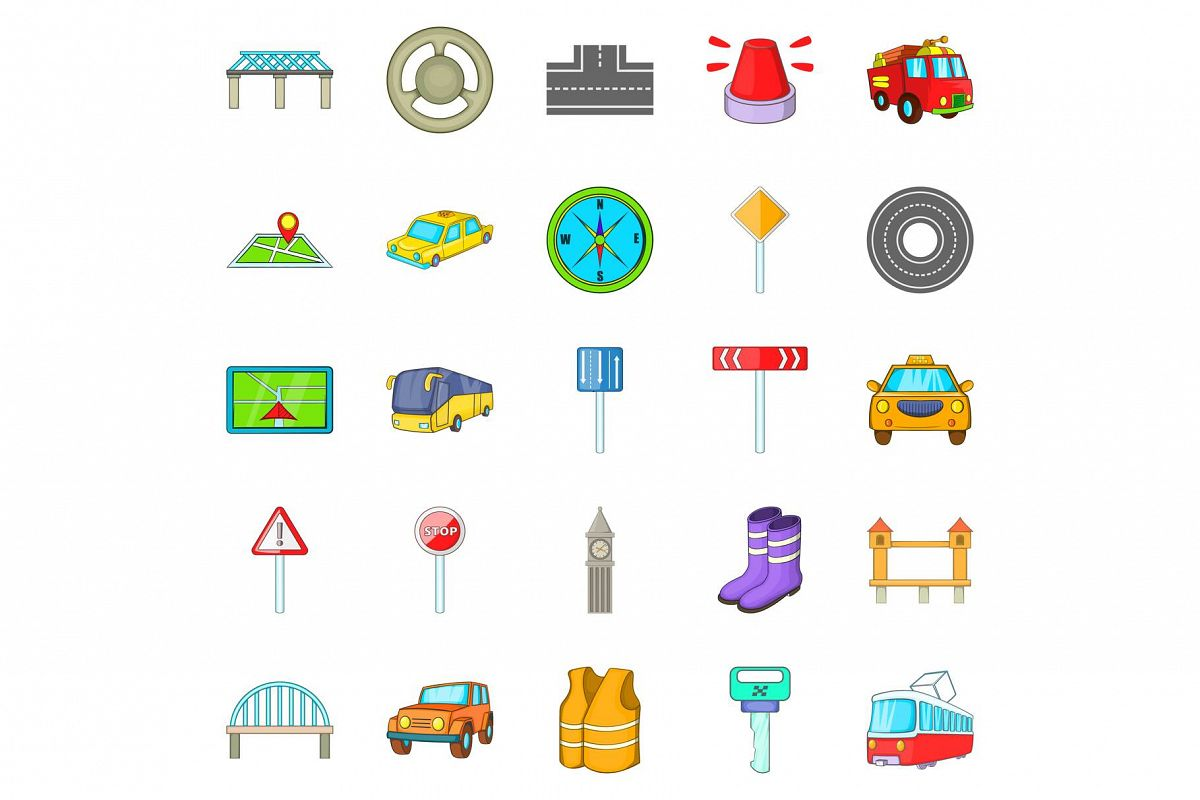 Bridge road icons set, cartoon style example image 1