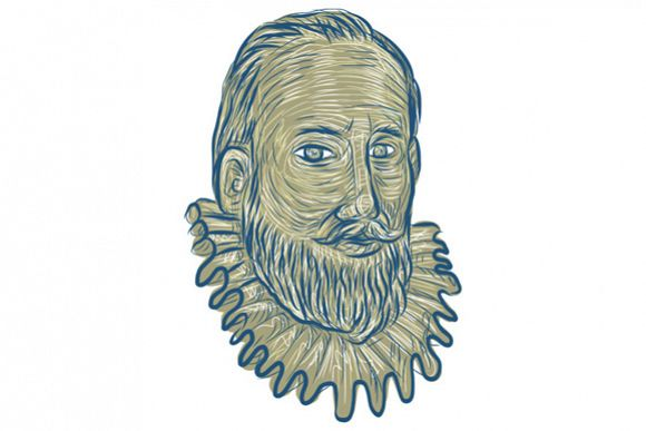 Sir Walter Raleigh Bust Drawing example image 1